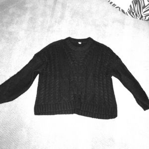 Aerie Oversized Black Knitted Sweater
